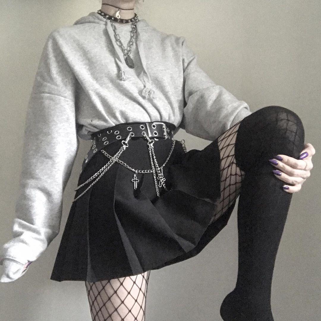 Edgy Cute Outfit Aesthetic Trendy Grunge Vintage E Girl Zielonekaczki Edgy Cuteoutfits Ootd Edgy Grunge Abiti Emo Abiti Alla Moda Abiti Punk