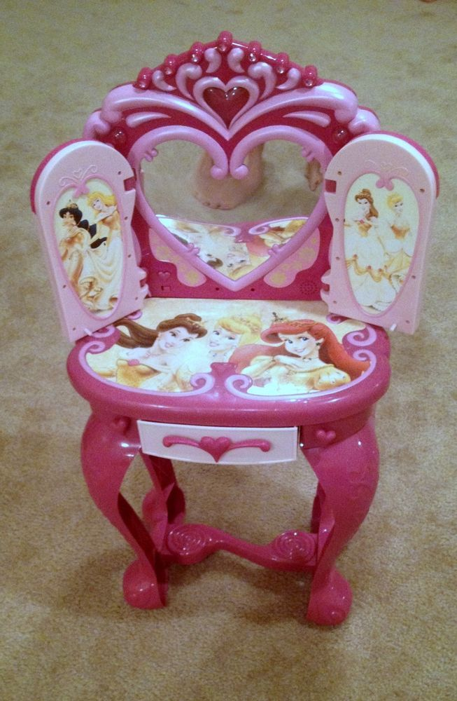 Disney Princess Light Up And Sound Plastic Vanity Table/Chair Stool/Hair  Dryer