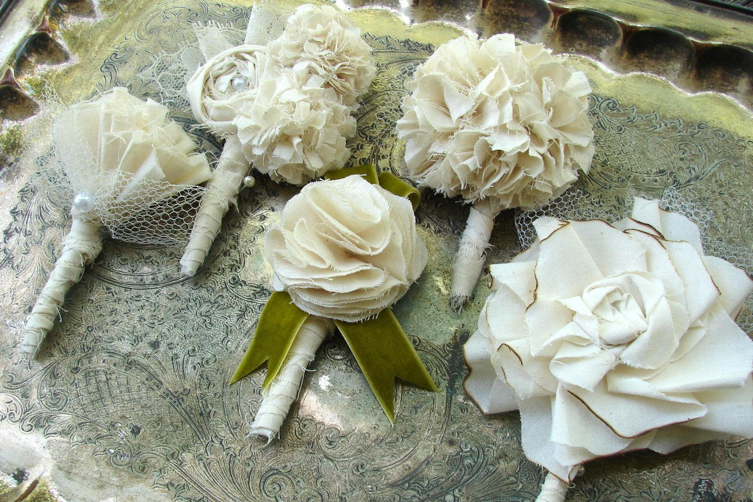 Fabric Flower Boutonniere - Wedding, Vintage Wedding - Cotton Rose Boutonniere, Fabric Flower, Fabric Boutonniere. $16.00, via Etsy.