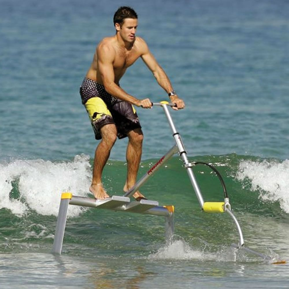 unique hydrofoil frame allows you to skim across water simply by hopping gently up and down, propelling you as fast as 17 mph