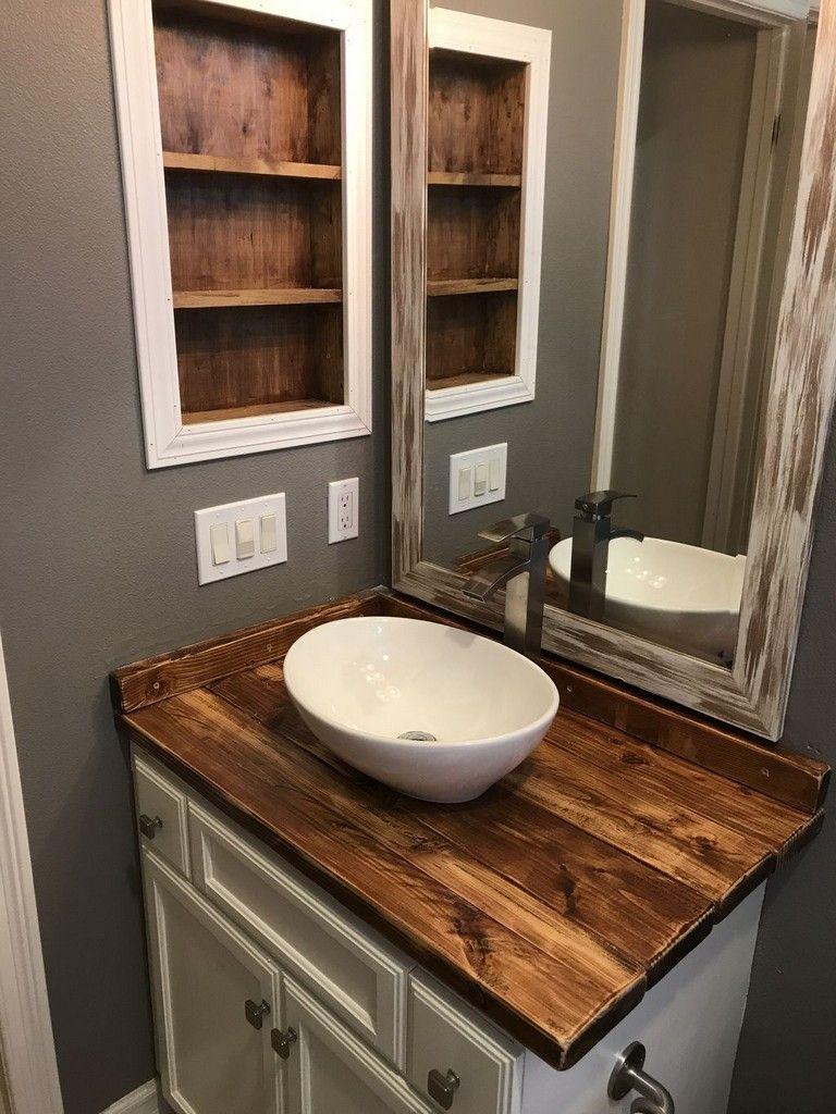 73 Marvelous Modern Farmhouse Style Bathroom Remodel Decor Ideas Bathroom Farmhouse Style Rustic Bathroom Vanities Bathroom Countertops Diy Wooden vanity tops for bathrooms