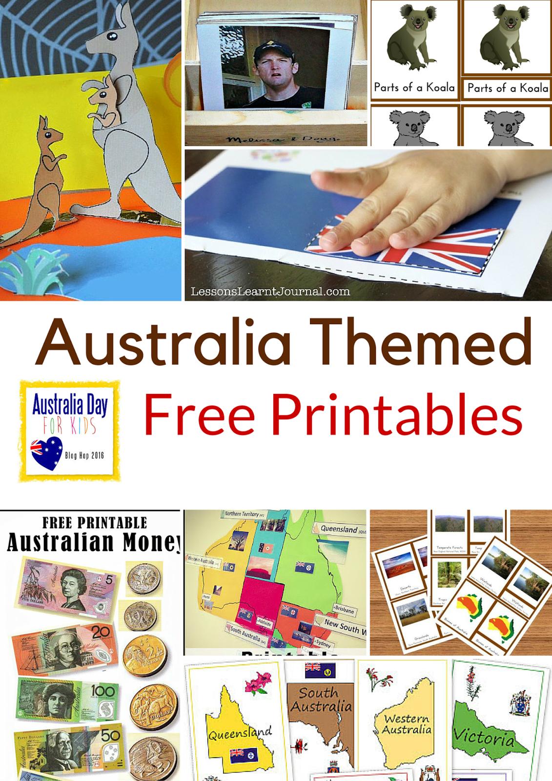 Australia Themed Free Printables