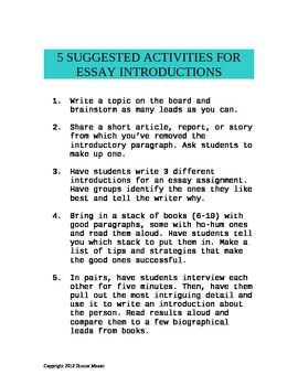 activities for essay introductions  high school english  suggested activities for writing better essay introductions free