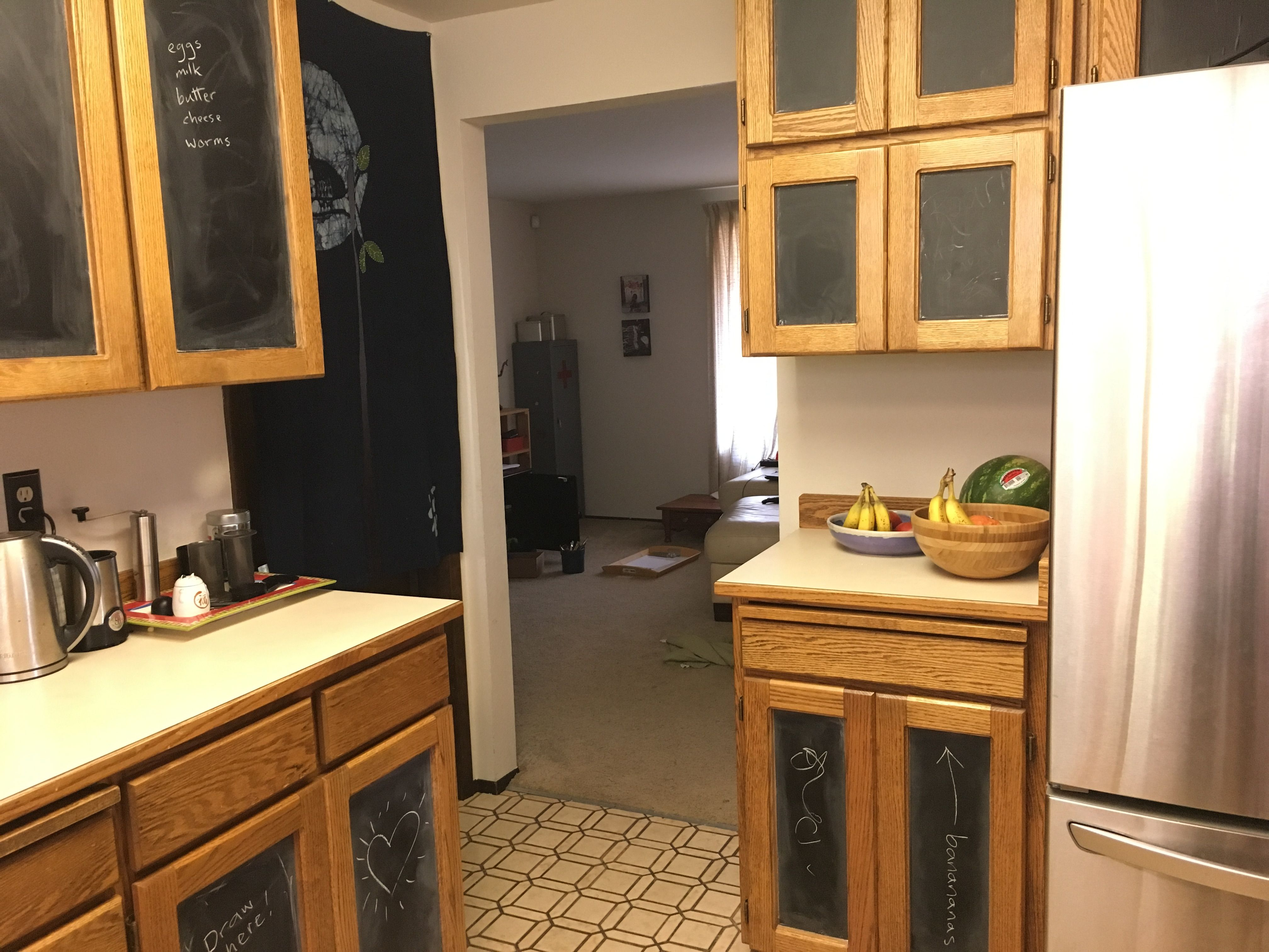 Diy Industrial Chalk Board Contact Paper Turned My 80 S Kitchen Into A 19th Century Science Lab Kitchen Kitchen Cabinets Home Decor