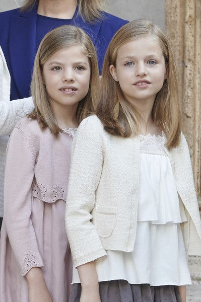 Princess Sofia of Spain (L) and Princess Leonor of Spain (R) attend the Easter Mass at the Cathedral of Palma de Mallorca on April 5, 2015 in Palma de Mallorca, Spain.