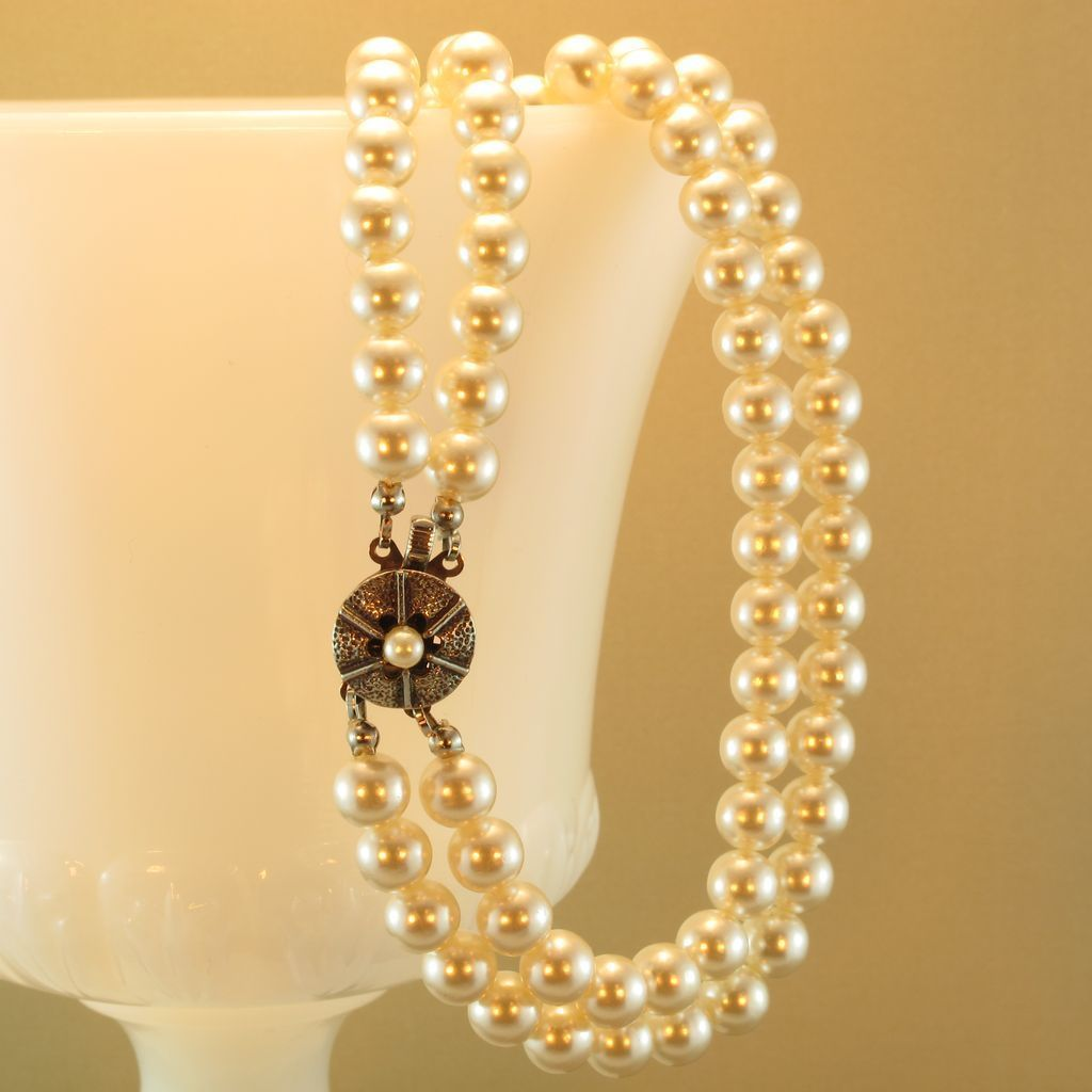 Vintage Double Strand Faux Pearl Necklace w/Silver Tone Clasp