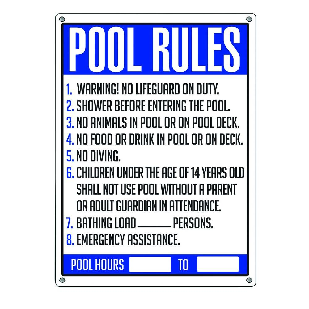 Poolmaster Pool Rules Swimming Pool Sign 40326 The Home Depot In 2021 Swimming Pool Signs Pool Rules Pool Rules Sign