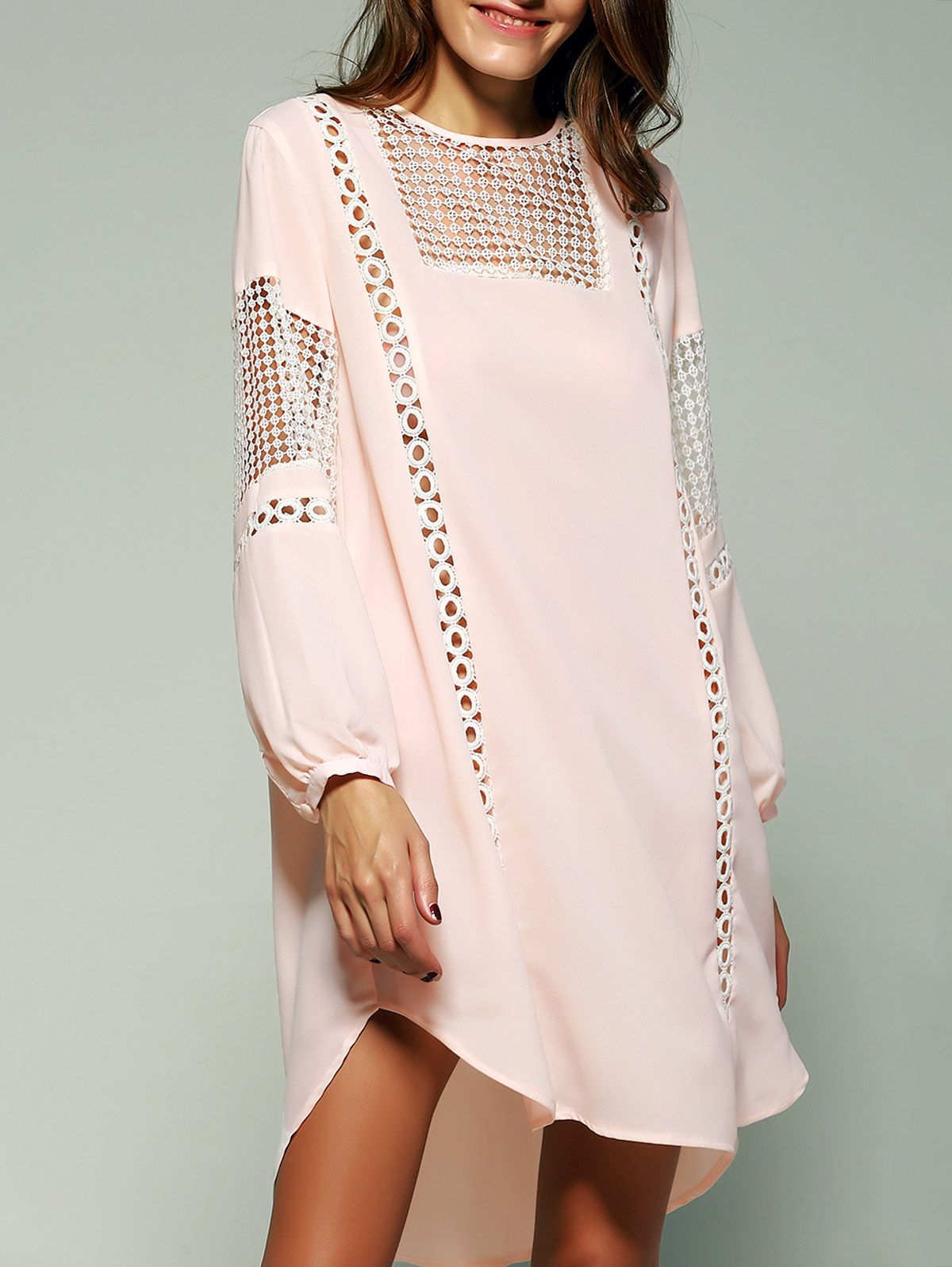 Bohemian Crochet Trim Lantern Sleeve Asymmetric Dress