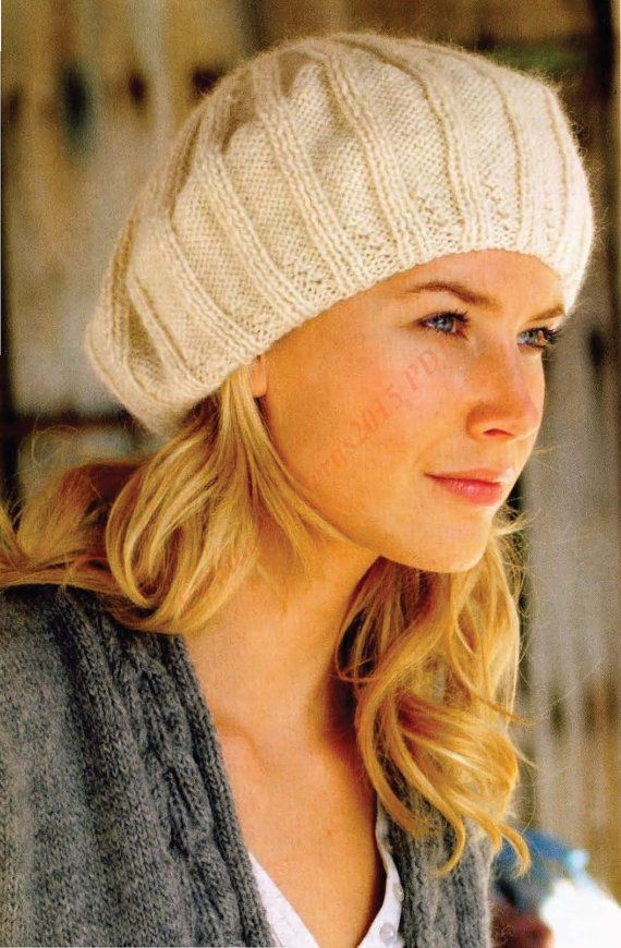 9c203bcd2cd Ladies Beret Knitting Pattern DK - PDF Download