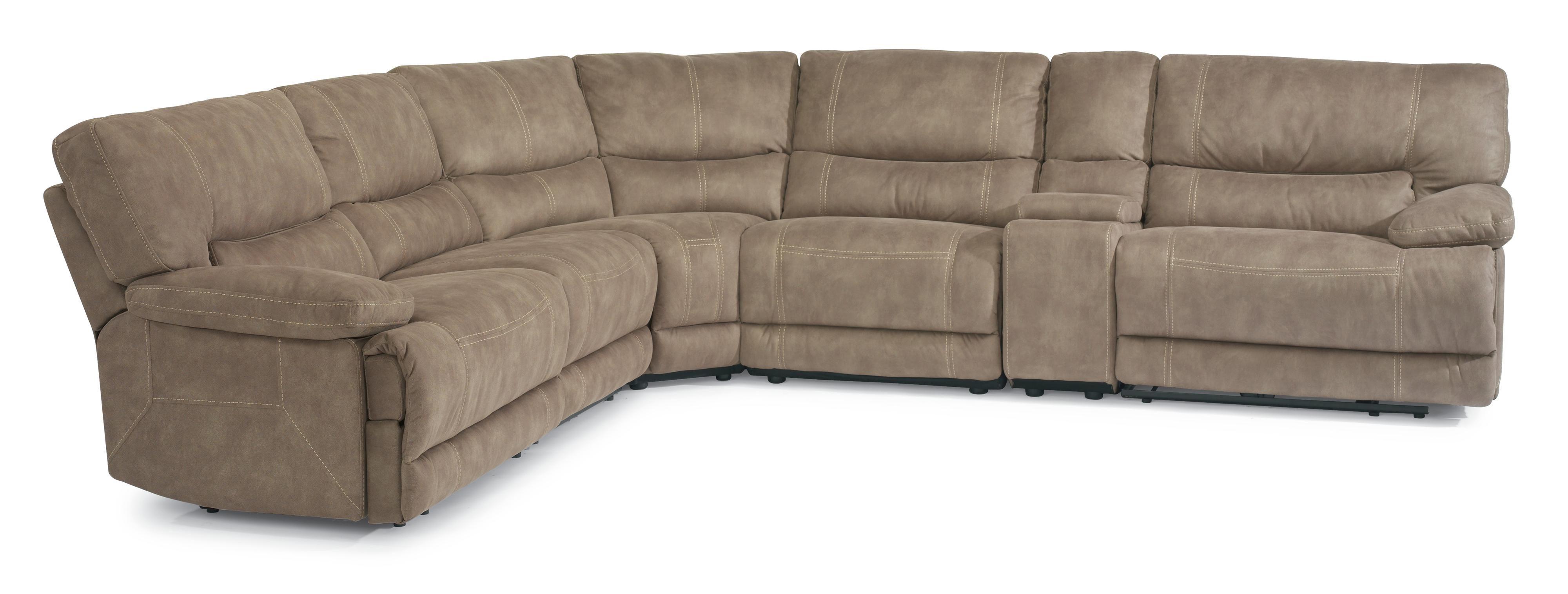Latitudes Delia Reclining Sectional Sofa With Plush Pillow Arms