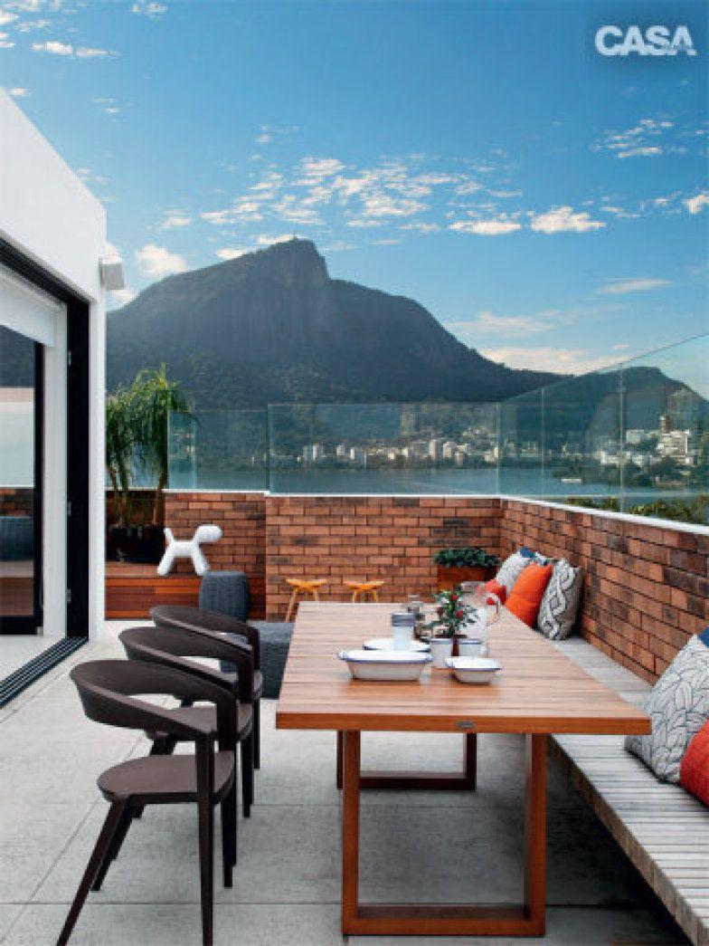 20 apartamentos dúplex com boas ideias de decoraç u00e3o Apartamentos, Terraços e Varanda -> Decoração De Terraço Com Churrasqueira
