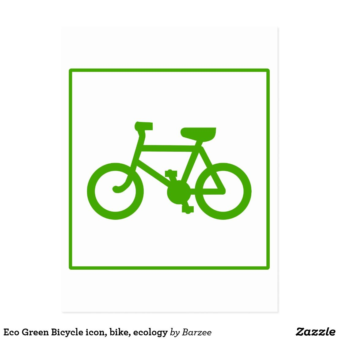 Eco Green Bicycle Icon Bike Ecology Postcard Zazzle Ca Eco