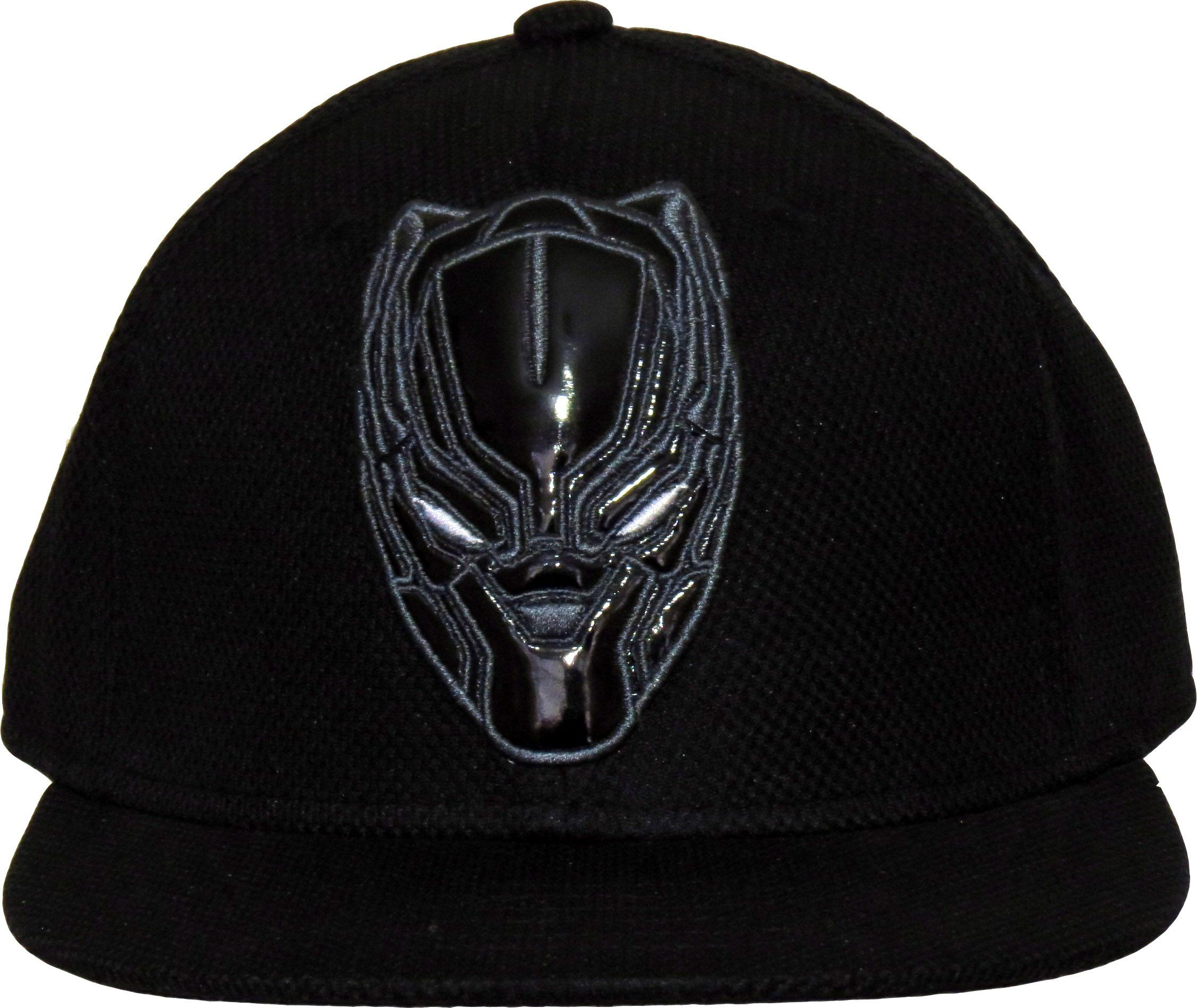 0e14a7773bf Marvel Comics Black Panther Snapback Cap. Black with the Black Panther Mask  front logo