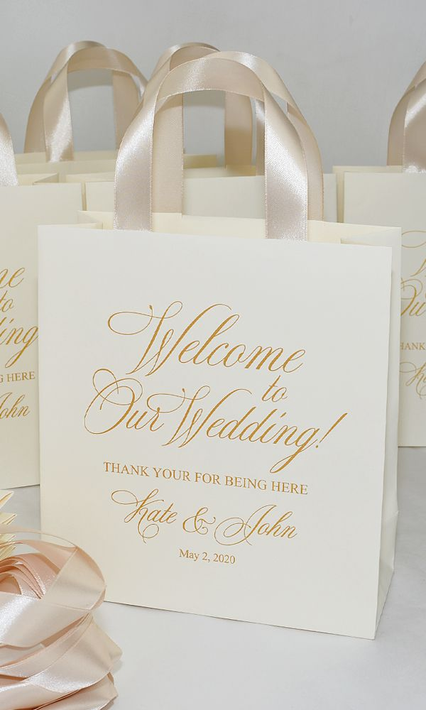 Elegant Ivory & Gold Wedding Welcome bags with Cha