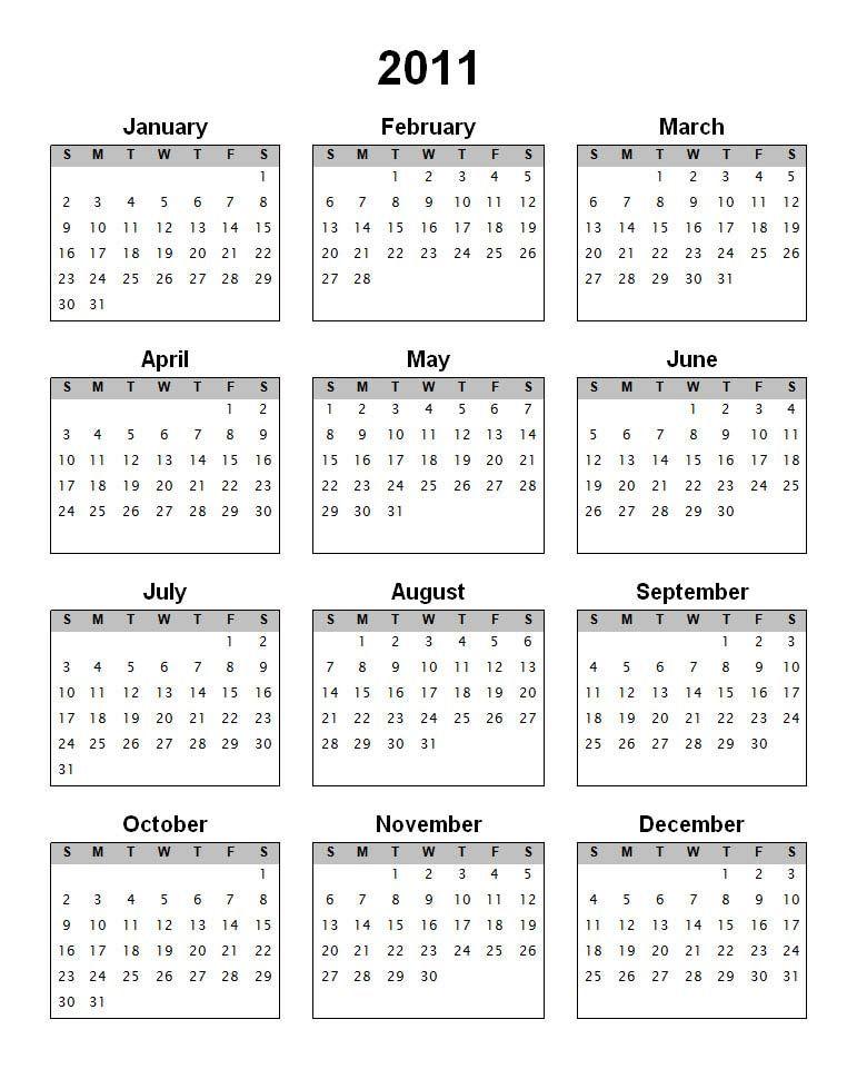 2011 Calendar Calendar Templates Printable Calendar Template Calendar Template Print Calendar