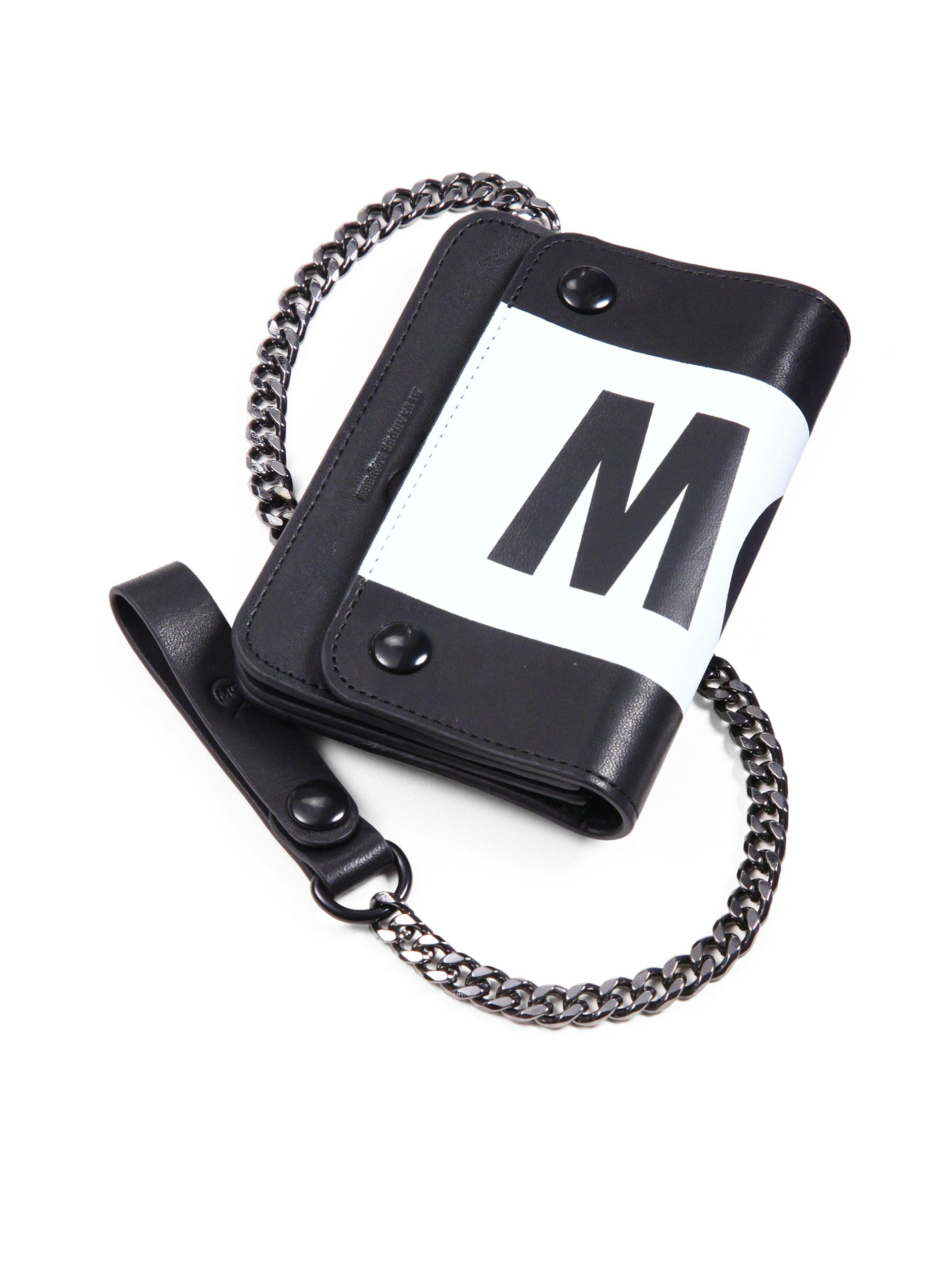 5663ea15562f08 Mcq By Alexander Mcqueen Leather Chain Wallet in Black for Men (BLACK-WHITE)  | Lyst