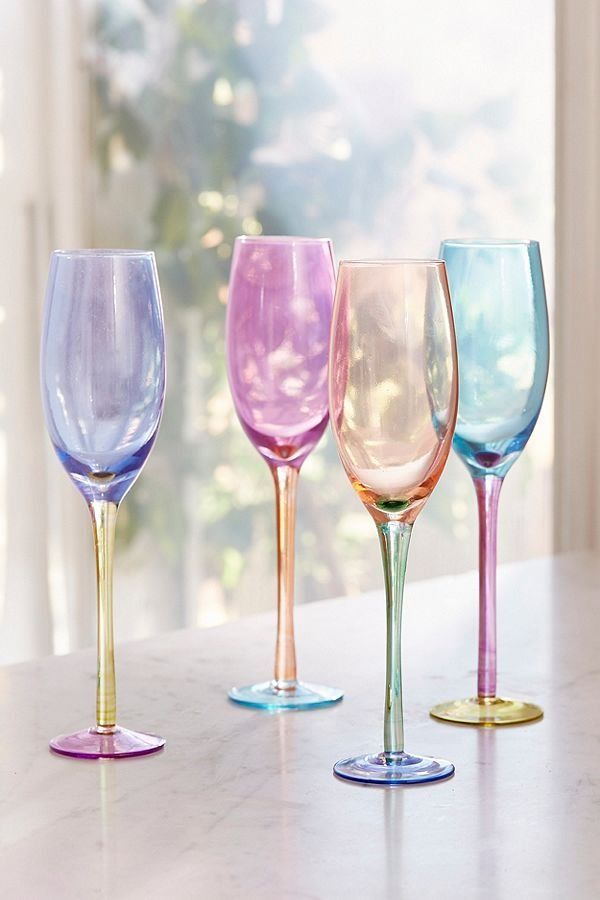 bc866c46fd3 Assorted Colorblock Flute Glass - Set of 4 | future home | Glass ...