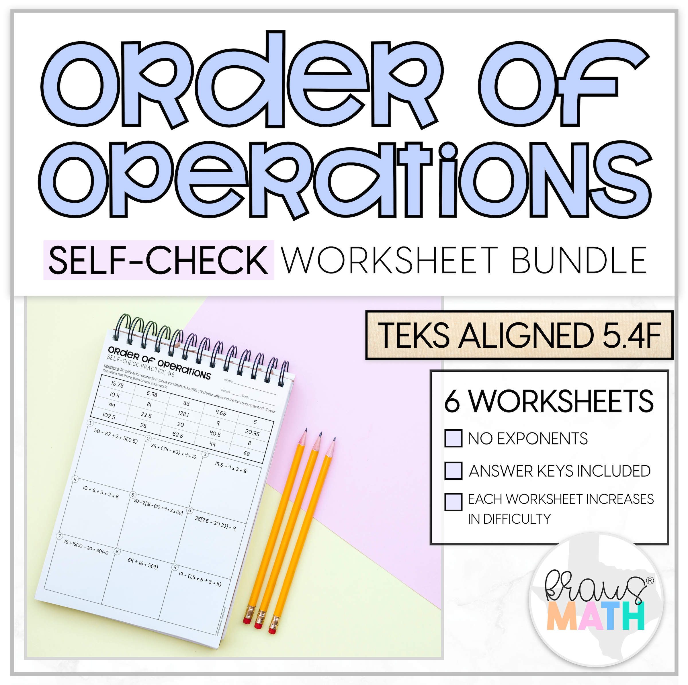 Order Of Operations Self Check Worksheet Bundle 5 4f In