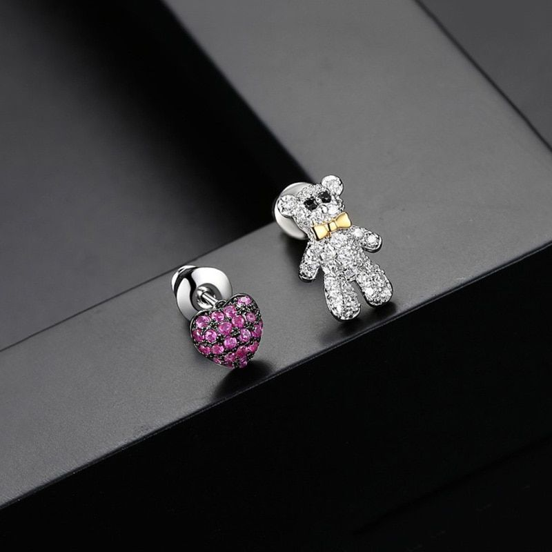 Fashion Blue Crystal Personality Heart Shaped Stud Earrings with Swarovski Elements