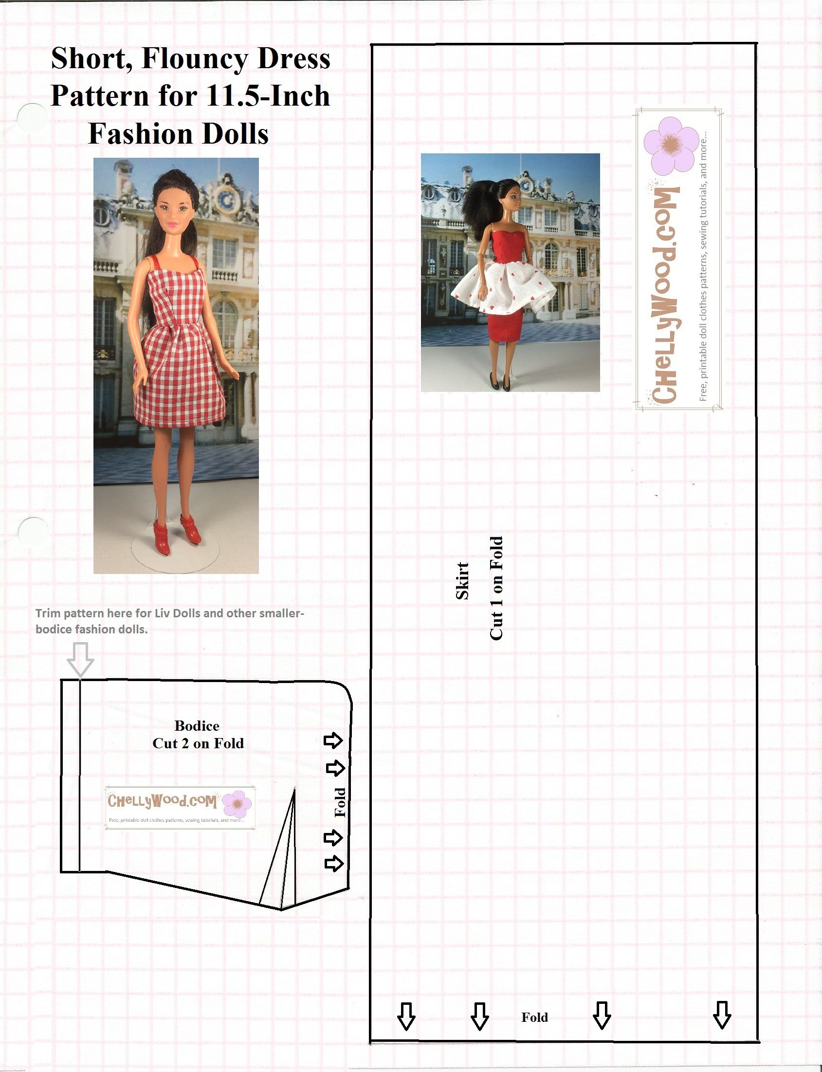 ChellyWood.com has the best free, printable sewing patterns for doll ...