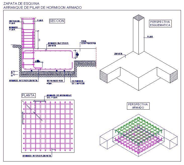 Zapata Esquinera Construccion Muros Calculo De Vigas Dibujos De Construccion