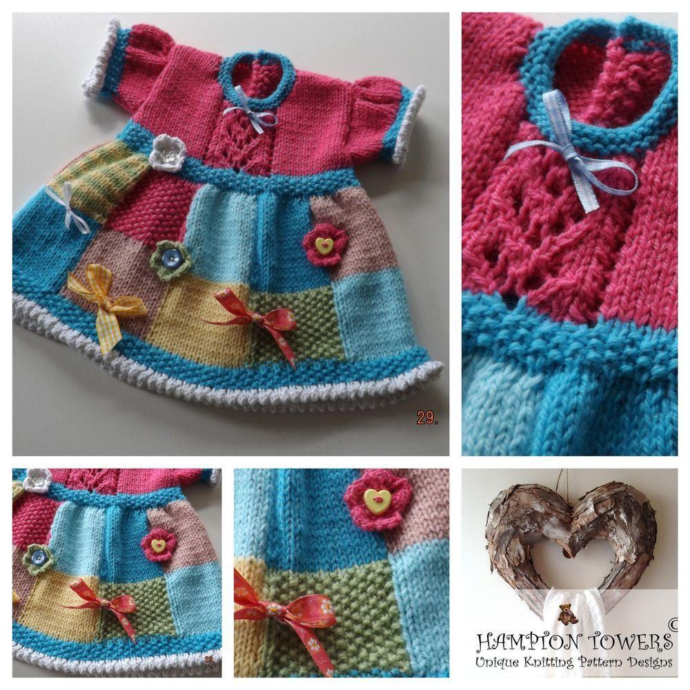 KNITTING PATTERN Matinee Baby Dress DK uses yarn oddments C002 ...
