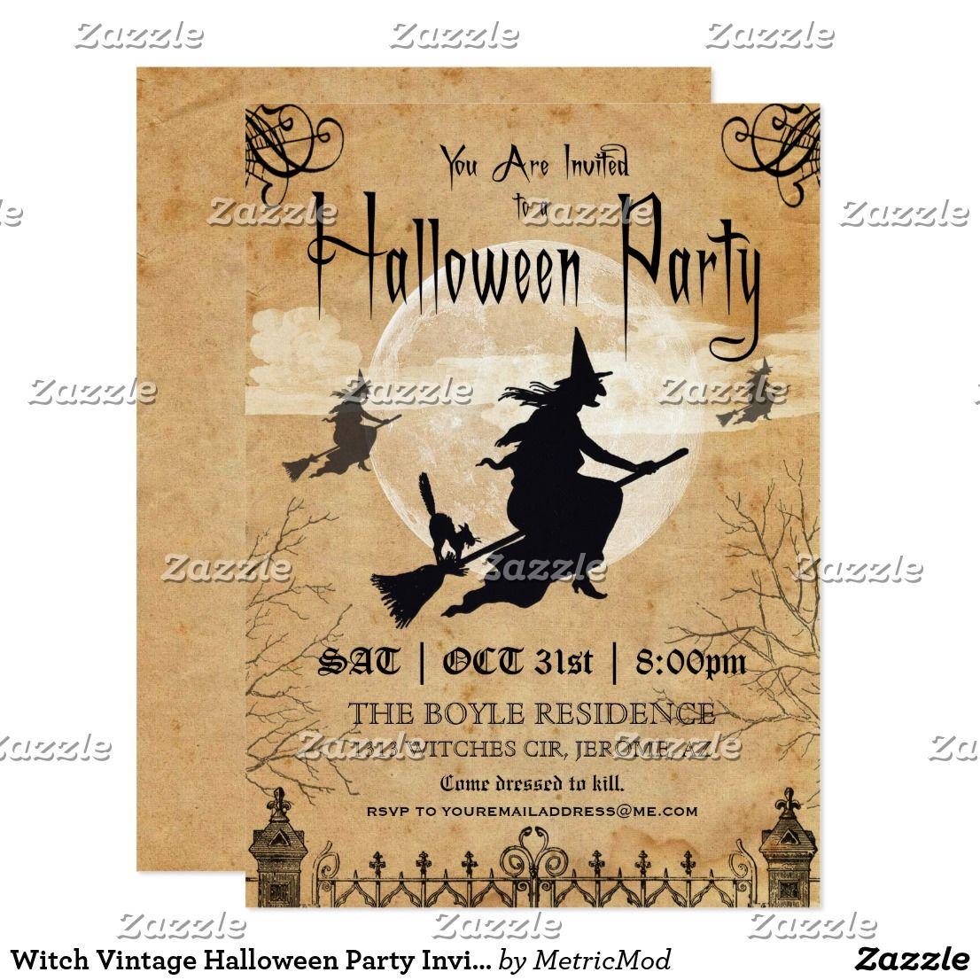 Witch Vintage Halloween Party Invitation | Happy Halloween ...