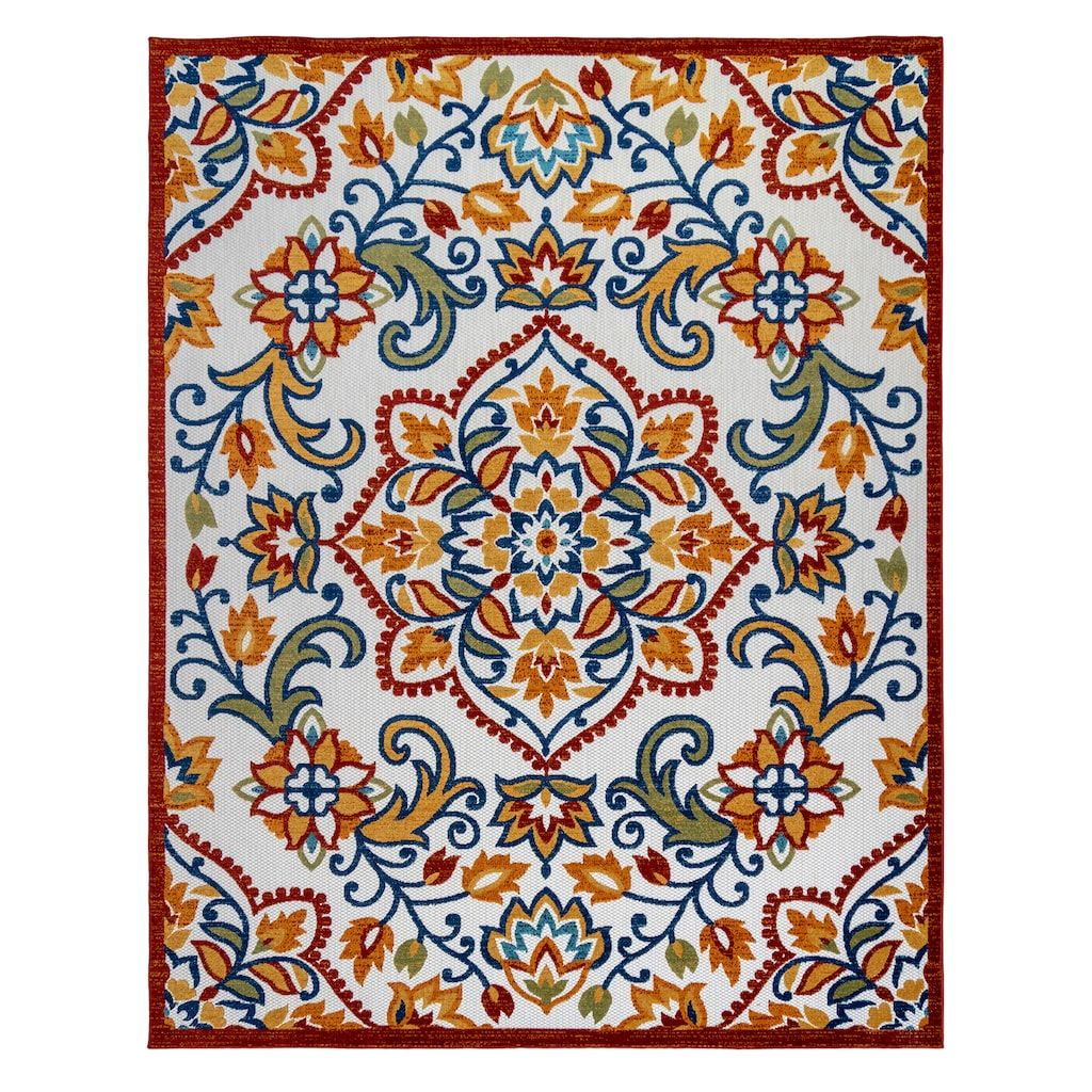 Avenue 33 Fosel Dijon Ivory Area Rug 5x7 Ft Outdoor Rugs Area