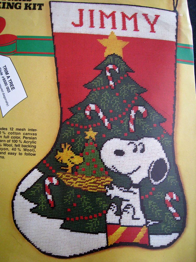 Christmas Malina Needlepoint Stocking Kit,TRIM A TREE