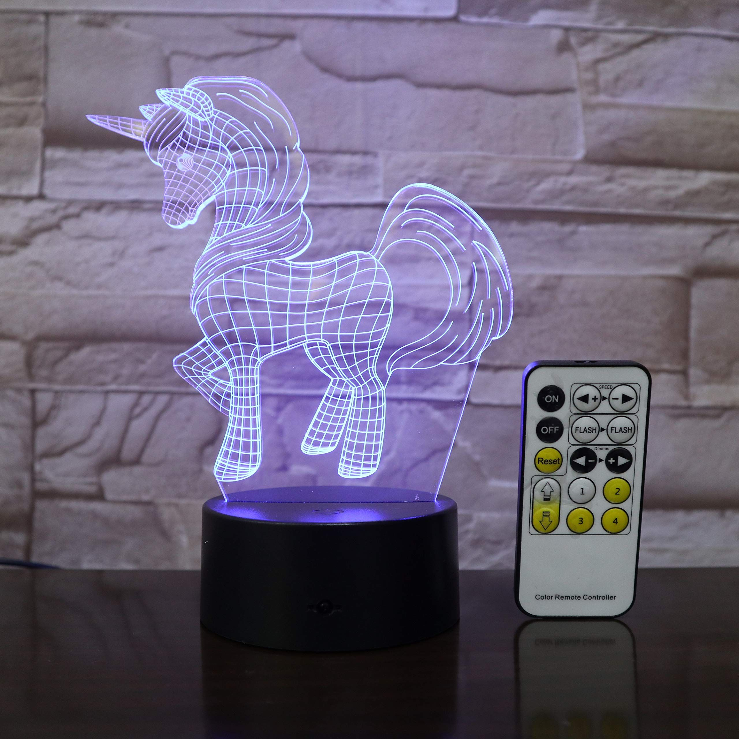 Unicorn 3d Lamp Led Table Night Light Remote Control Gift Kids Friends Decorations 7 Colors Birthday Lighting 3d Night Light Night Light Kid Room Decor