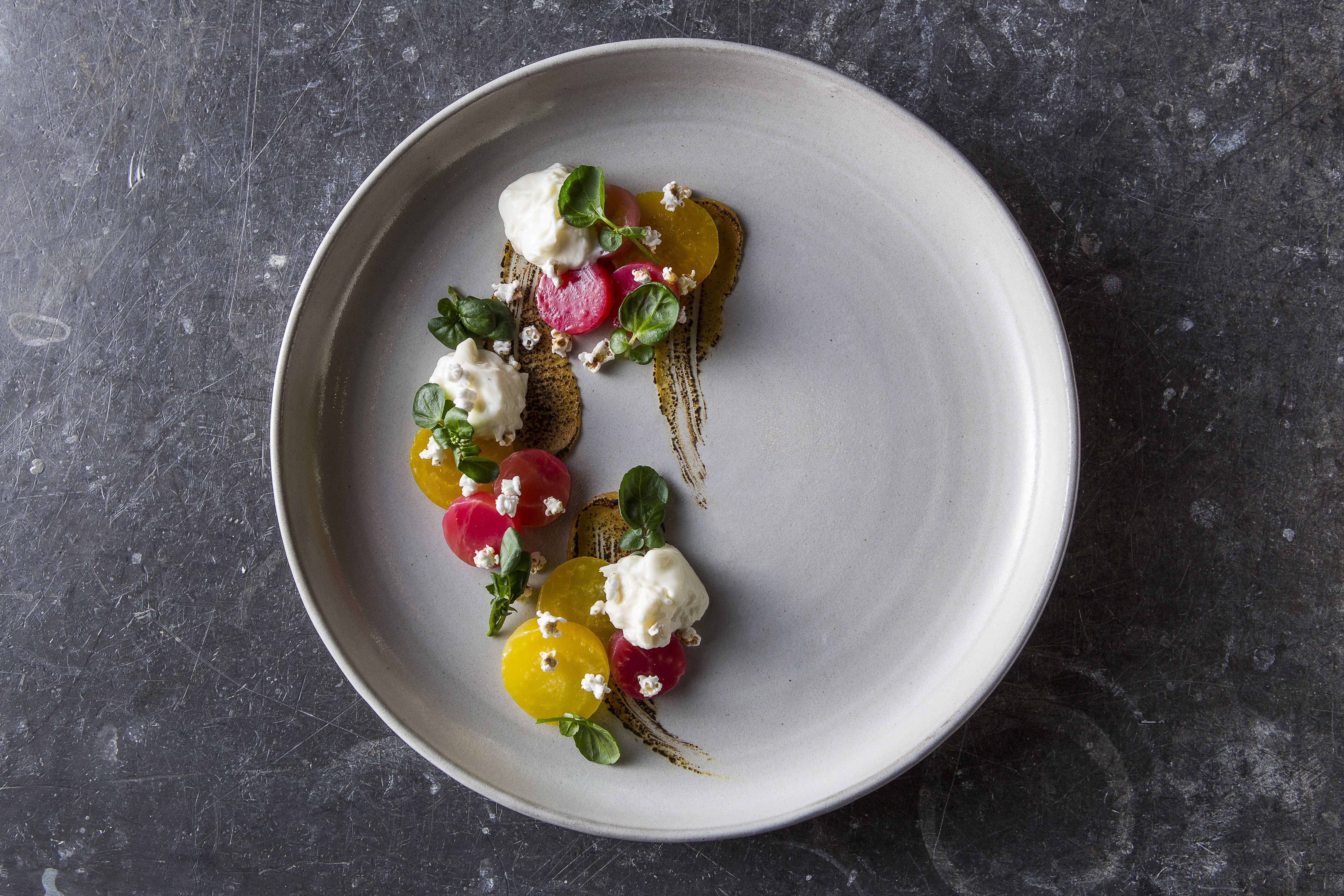 Beets Miso Burrata By Chef Andrew Zimmerman Photo By Paul Strabbing Perfect Food Fine Dining Recipes Food