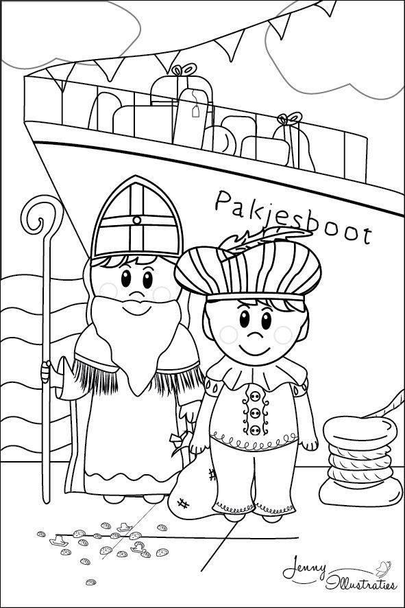 Kleurplaten Gratis Sinterklaas.Sint En Piet En De Pakjesboot Sinterklaas Kleurplaat Freebies