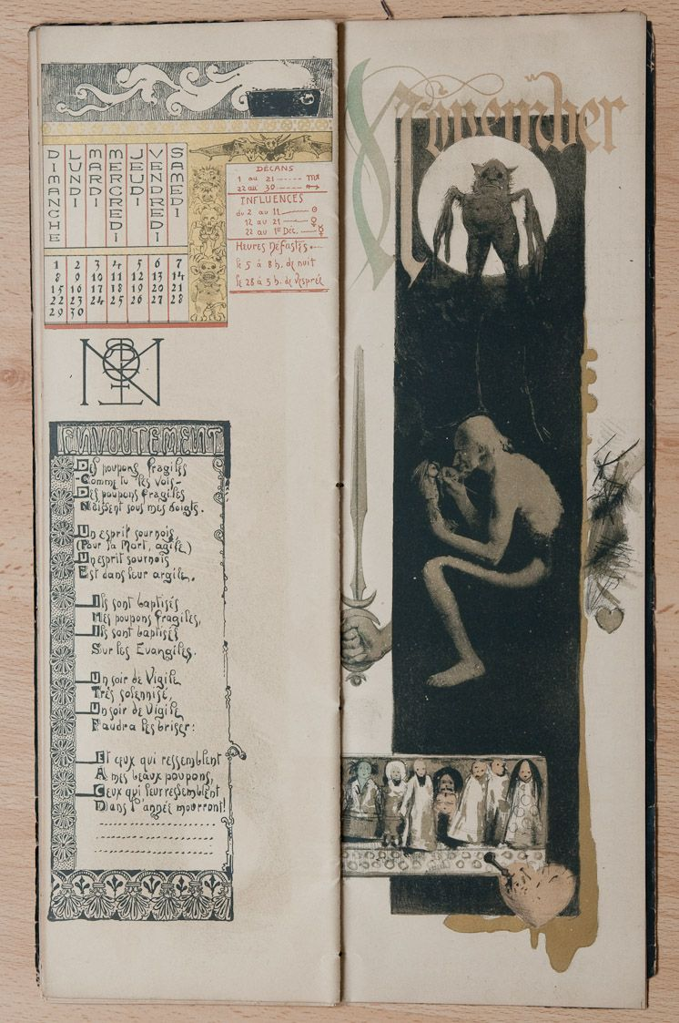 calendar chart; spell / naked old man sitting, creating voodoo doll; bird-like demon silhouetted by moon; hand gripping sword; row of dolls; heart pierced by nails, knife