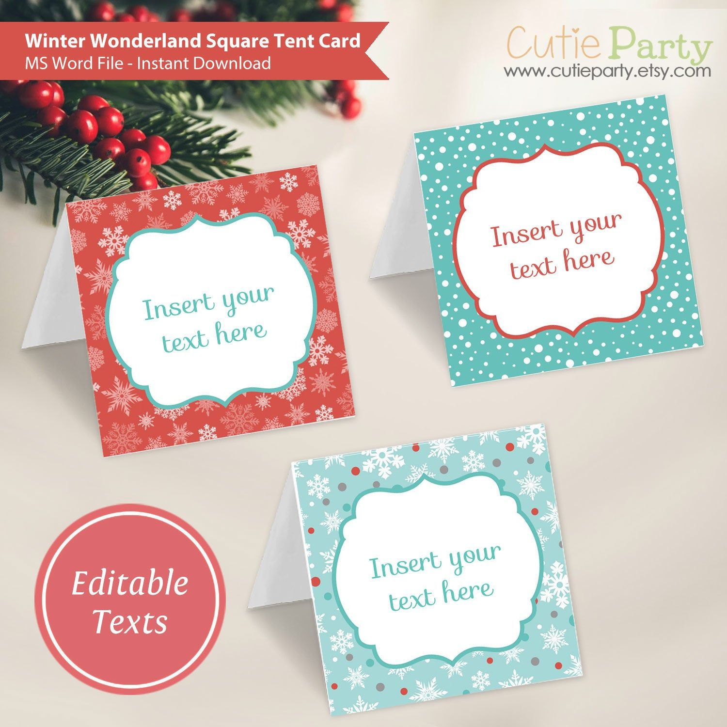 Winter Wonderland Tent Card Christmas Party Printable Winter Holiday Editable Tent Card Food L Gift Labels Winter Wonderland Invitations Food Label Template