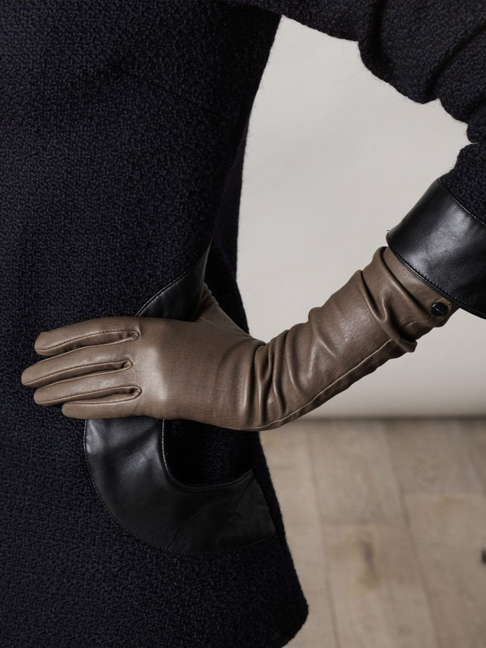 AGNELLE / Unlined long leather gloves