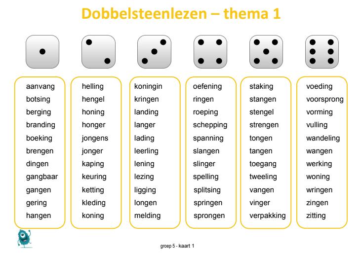 Nieuw Dobbelsteenlezen groep 5. Oefenen met de spellingswoorden van YU-39