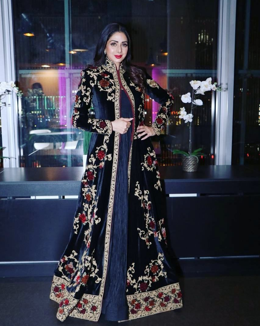 38f7f37747 Sridevi in Embroidered Jacket Style Anarkali Suit By Rohit Bal in ...