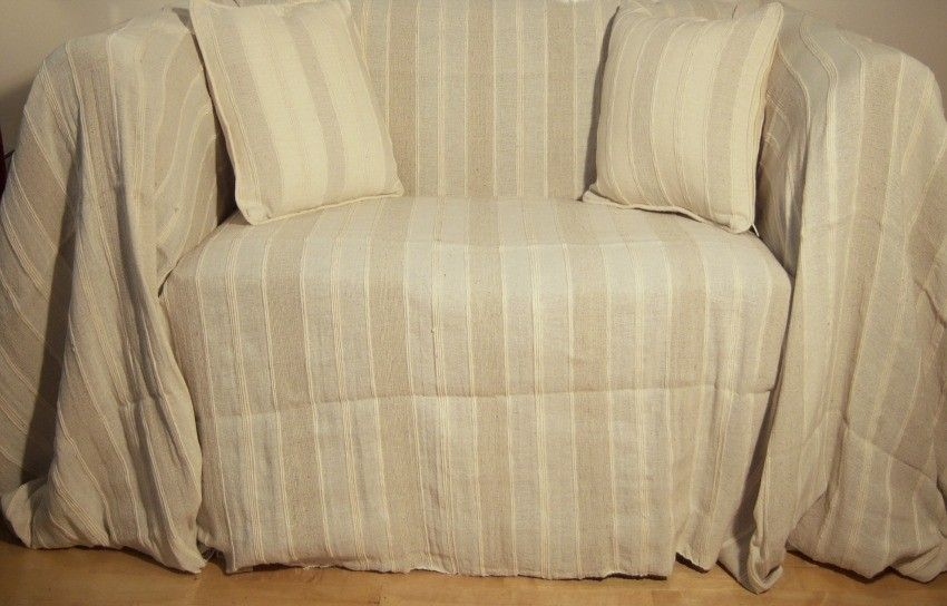 100 Cotton Cream Oatmeal Stripe Giant Sofa Throw 230x365