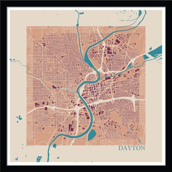 Dayton footprint map by cartografika on etsy dayton oh pinterest dayton footprint map by cartografika on etsy malvernweather Images