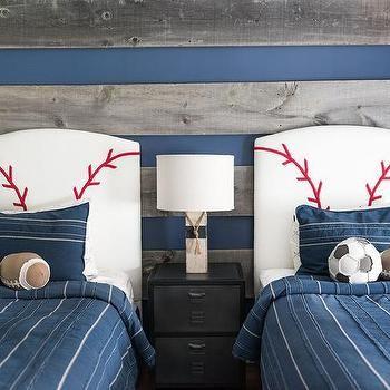 Blue And Gray Boys Bedroom With Baseball Headboards Baseball