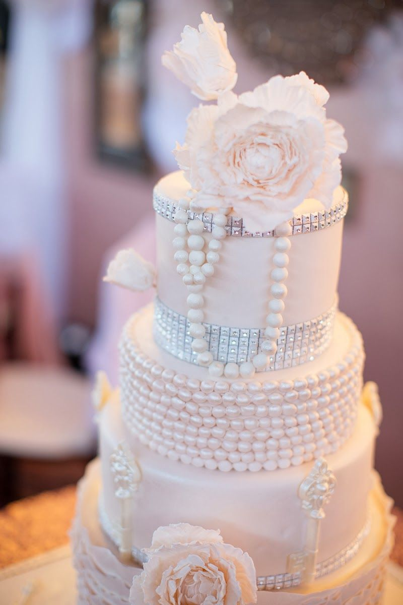 Angel Cakes Bakery: Pearls + Peonies + Bling Wedding Cake + Macaron ...