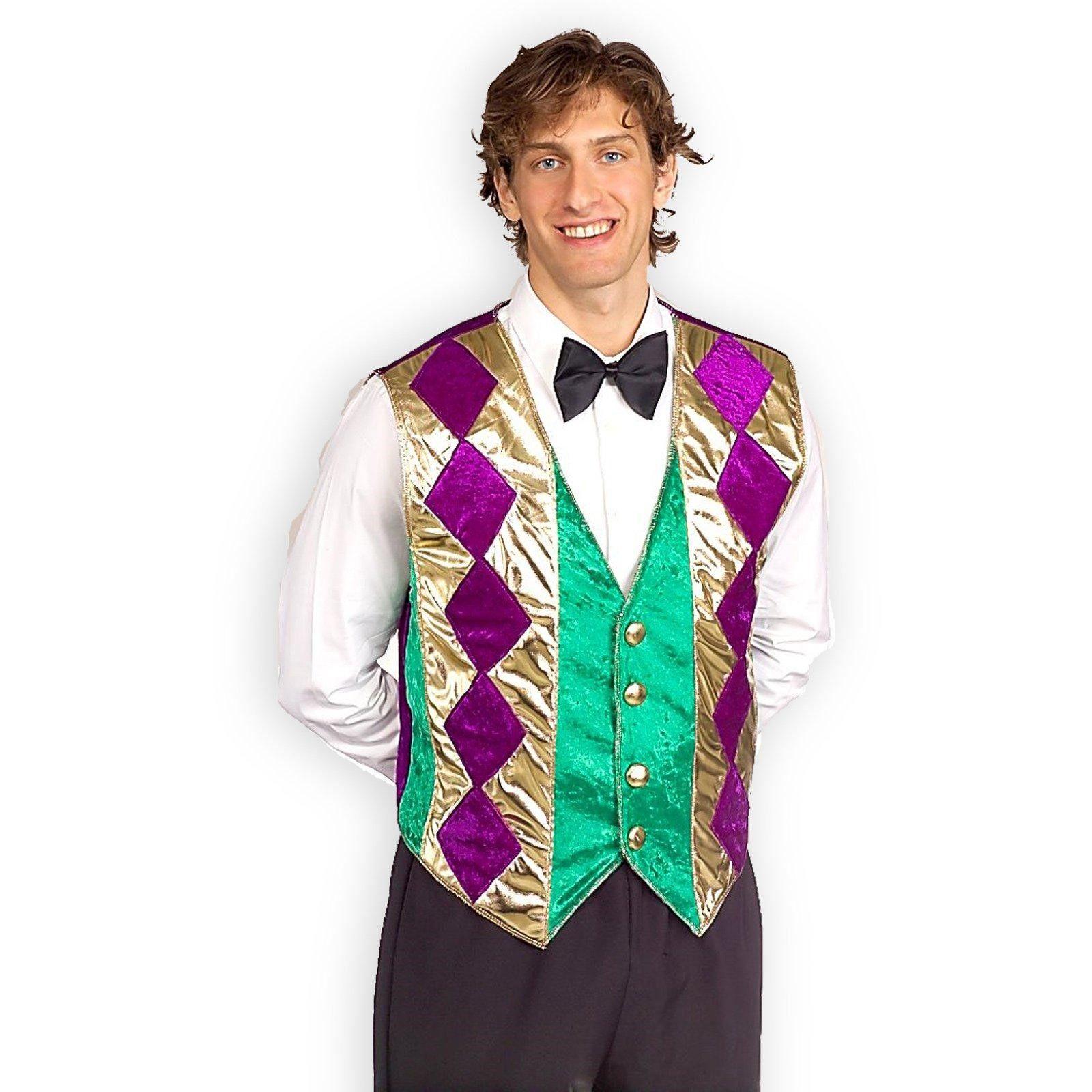 Mens Standard Mardi Gras Party Vest Purple Green Gold Parade Costume Accessory