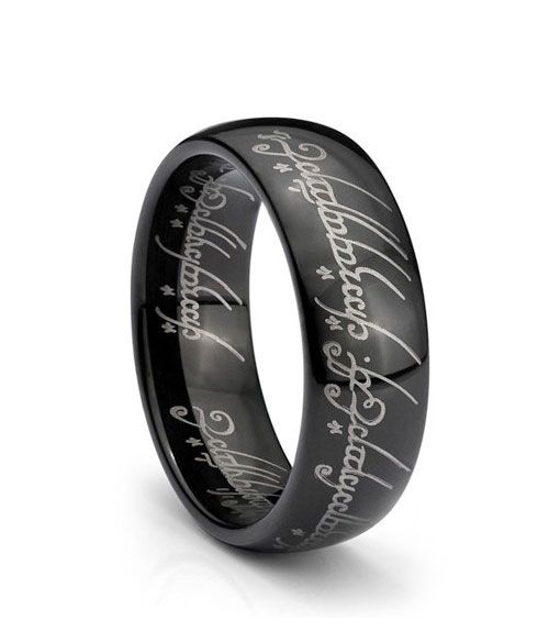 Elvish engraved in tungsten carbide. :)
