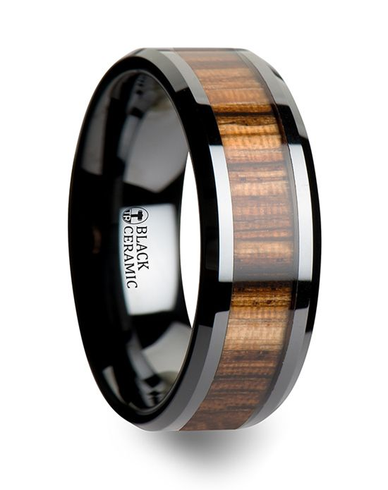 Black Ceramic Ring with Real Zebra Wood Thorsten httptribal