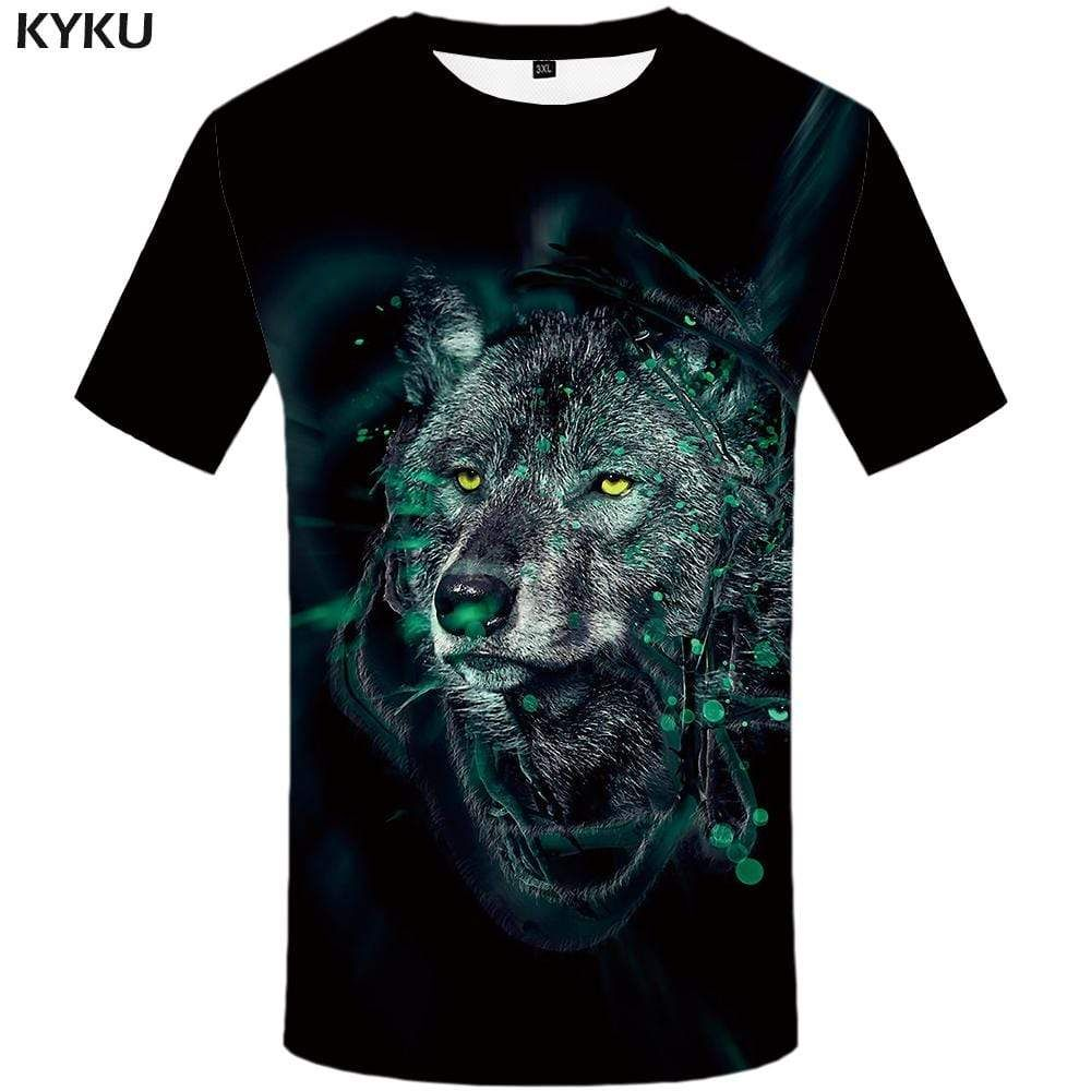 Photo of KYKU Brand Wolf T-shirts Men Black Tshirts Print Animal T-shirt 3d Ink T shirts Funny Vintage Tshirt Anime Mens Clothing Casual – 3XL