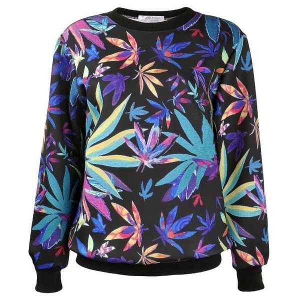 Women's Colorful Maple Leaf Print Sweatshirt Weed Sweater Jumper... ($33) ❤ liked on Polyvore featuring tops, shirts, pullover tops, multicolor shirt, pullover shirt, colorful tops and multi colored long sleeve shirt