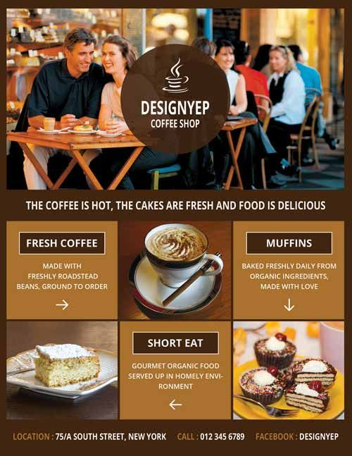 Coffee Shop Free PSD Flyer Template -    freepsdflyer - coffee shop brochure template