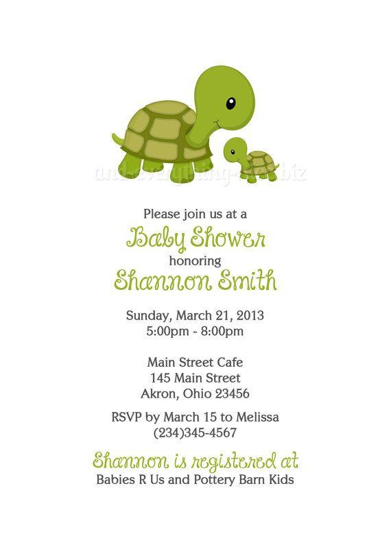 Turtle Baby Shower Birthday Invitations Custom Design