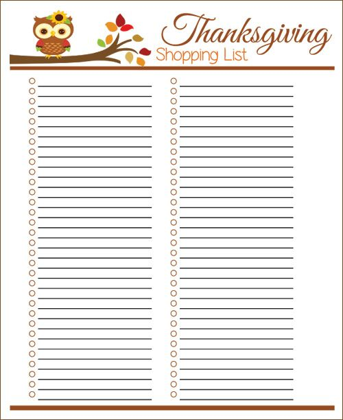 Printable Thanksgiving Menu Planner