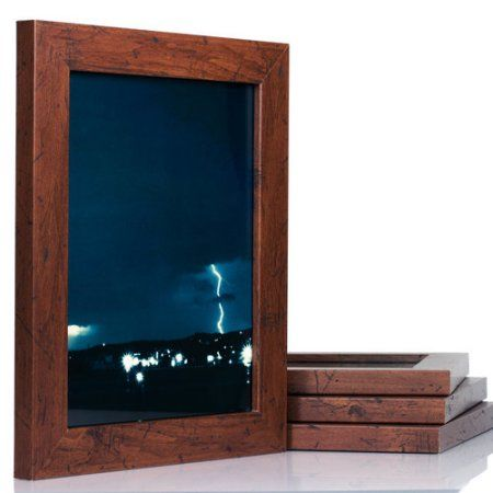 craig frames bauhaus modern dark walnut picture frame set of 4 brown